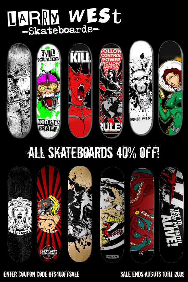 Zazzle, the company that produces my skateboards, has a sale going on where