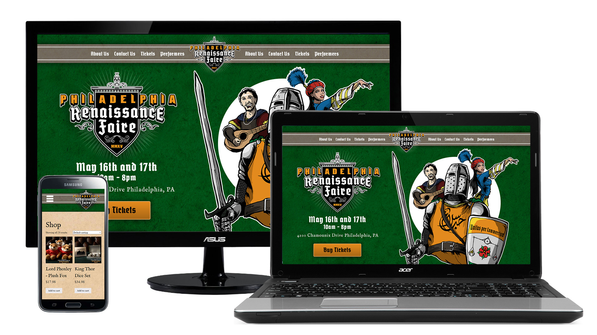 Philadelphia Renaissance Faire - Responsive Website Design