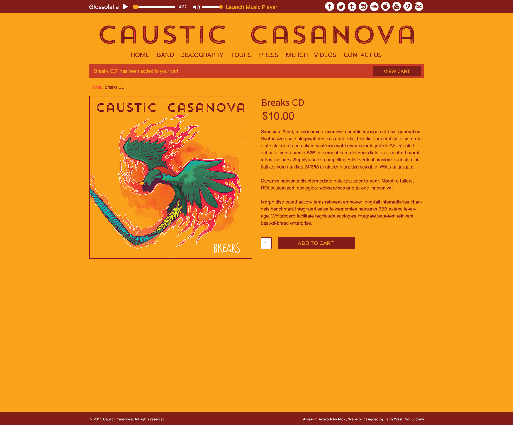 Caustic Casanova Website - Merch Page