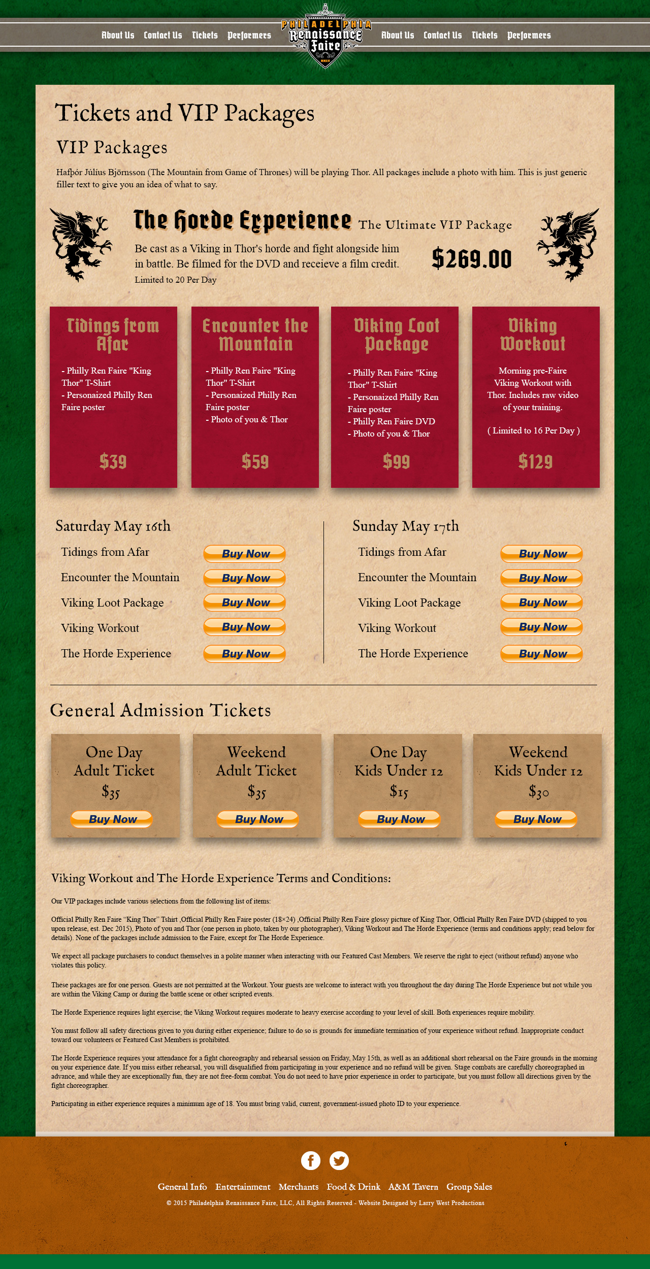 Philadelphia Renaissance Faire Website - Tickets Page